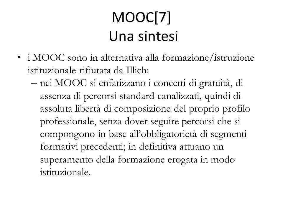 MOOC[7] Una sintesi i MOOC sono in alternativa alla formazione/istruzione istituzionale rifiutata da Illich: